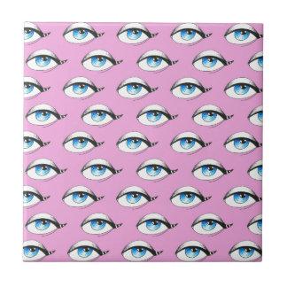 Blue Eyes Pattern Pink Ceramic Tile