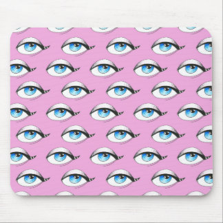 Blue Eyes Pattern Pink Mouse Pad