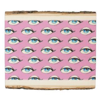 Blue Eyes Pattern Pink Wood Panel