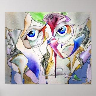 Blue eyes watercolor art poster