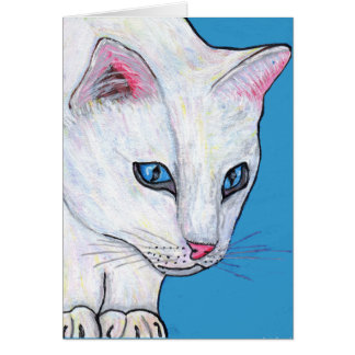 Blue Eyes White Cat Note Card