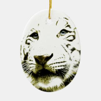 Blue Eyes, White Tiger Ceramic Ornament