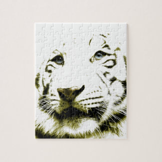 Blue Eyes, White Tiger Jigsaw Puzzle