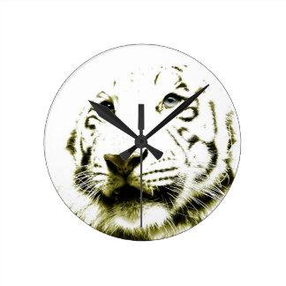 Blue Eyes, White Tiger Round Clock