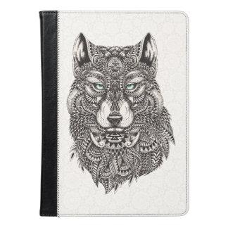 Blue Eyes Wolf Ornate Head Illustration iPad Air Case