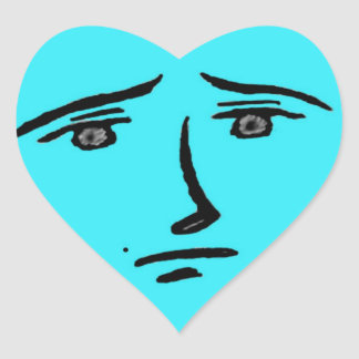 Blue Face Anime Heart Sticker
