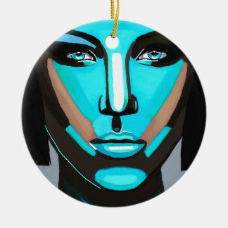 Blue Face Ceramic Ornament