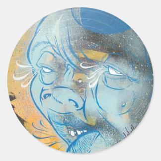 Blue Face Classic Round Sticker