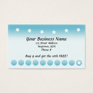 Blue Fade with Stars Customer Loyalty Cards