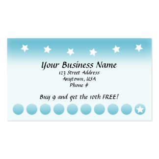 Blue Fade with Stars Customer Loyalty Cards Business Card