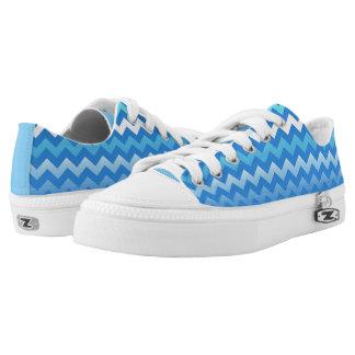 Blue Fade Zig Zag Chevron Design Sneakers Printed Shoes