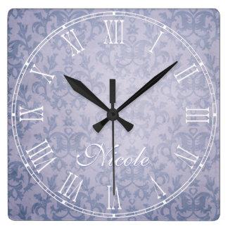 Blue faded kangaroo paw damask name wall clock