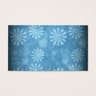 Blue Faded Retro | Daisy Flowers Pattern Business Card