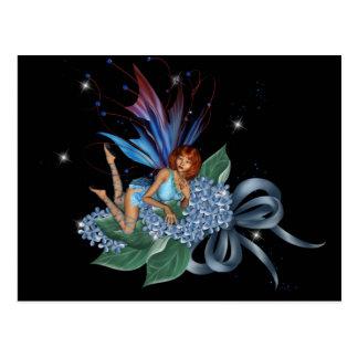Blue Fae on Blue Flowers Design 1 Postcard