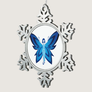 Blue Faery pewter snowflake ornament