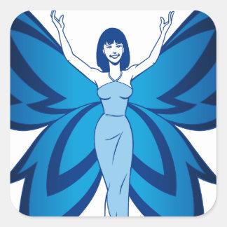 Blue Faery square stickers sheet