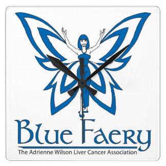 Blue Faery square wall clock
