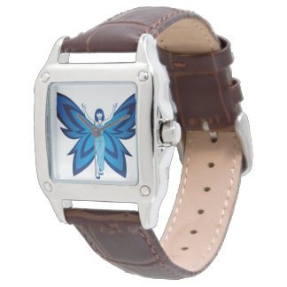 Blue Faery women's square leather watch