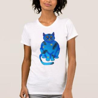 blue faience cat tee shirt
