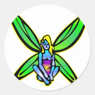 Blue Fairie Fairy Faerie Classic Round Sticker