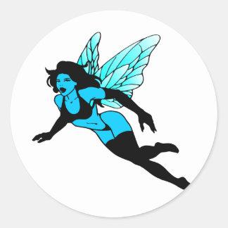 Blue Fairie Round Sticker