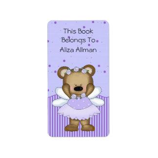 Blue Fairy Bear Bookplate Label