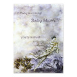 Blue Fairy Carries Baby Shower Invitation