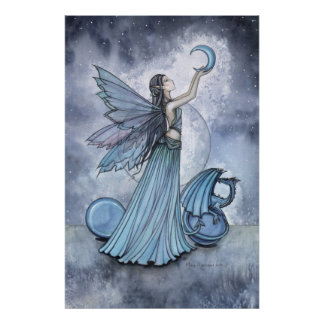 Blue Fairy Dragon Poster by Molly Harrison