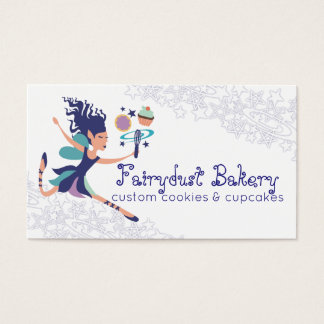 Blue fairy magic whisk cookie cupcake bakery business card