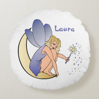 Blue Fairy Personalized Round Pillow