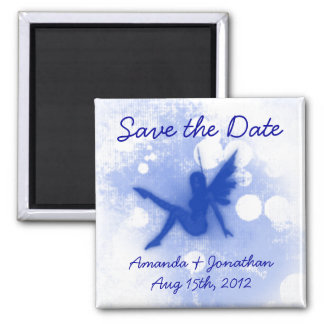 Blue Fairy Save the Date 2 Inch Square Magnet