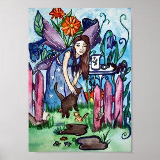 Blue fairy's garden art poster
