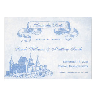 Blue Fairytale Wedding Save the Date Personalized Invites