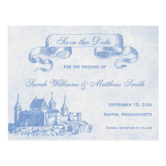 Blue Fairytale Wedding Save the Date Postcard