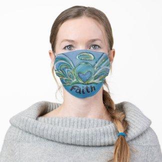 Blue Faith Guardian Angel Art Custom Face Masks