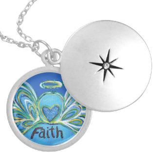 Blue Faith Guardian Angel Words Sterling Lockets