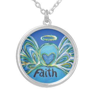 Blue Faith Guardian Angel Words Sterling Necklace