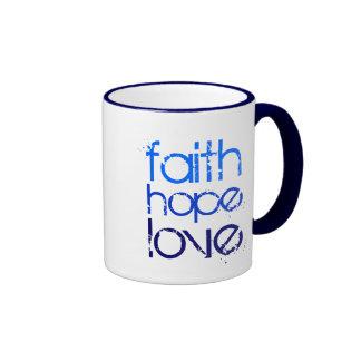 Blue Faith Hope and Love Ringer Coffee Mug