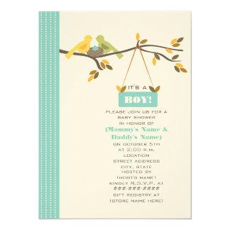 "Blue Fall Baby Shower Mommy & Daddy Birds & Nest 5.5"" X 7.5"" Invitation Card"