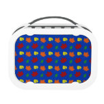 Blue fall leaves lunch box