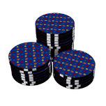Blue fall leaves set of poker chips