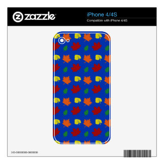 Blue fall leaves decal for iPhone 4