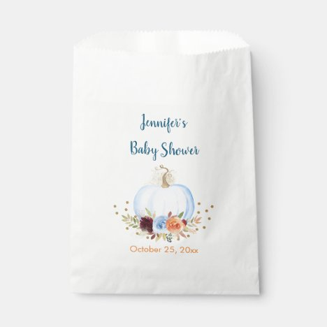Blue Fall Pumpkin Floral Baby Shower Favor Bag