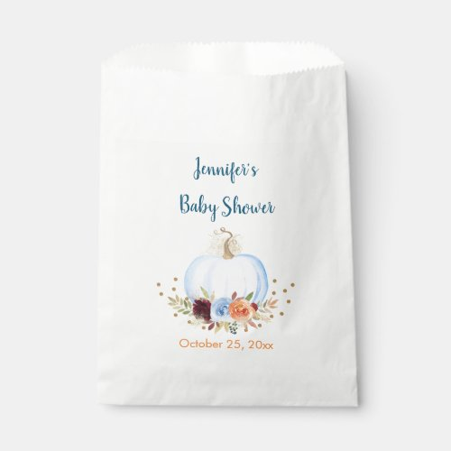 Blue Fall Pumpkin Floral Baby Shower Favor Bag