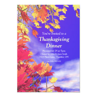 Blue Fall Sky Thanksgiving 5x7 Paper Invitation Card