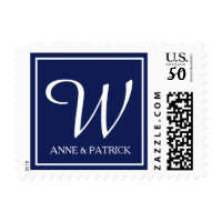blue family initial monogram & names, wedding postage