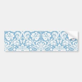Blue fancy damask pattern bumper stickers