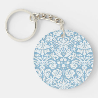 Blue fancy damask pattern keychain
