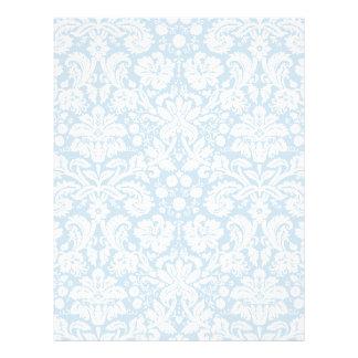 Blue fancy damask pattern letterhead