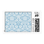 Blue fancy damask pattern postage stamps